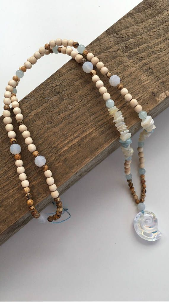 Long summer necklace with Swarovski Crystal shell pendant