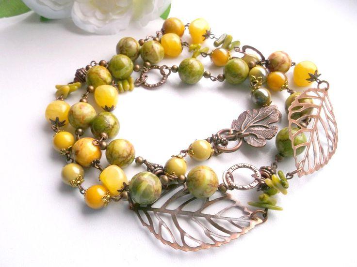 Long green yellow kunzite necklace