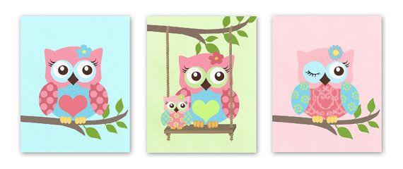 Owl Decor Girls wall art OWL canvas art Baby Nursery by MuralMAX