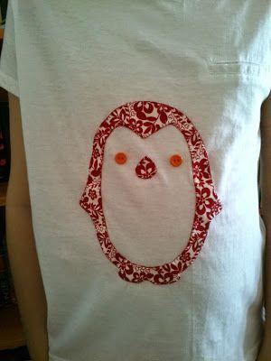 Mi rinconcito de labores: Camisetas aplicación pingüino