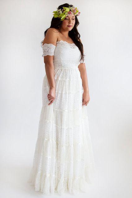 Country Style robes de mariée Plus taille Cap manches 2015 de l'épaule Low Back Boho dentelle robe de mariée