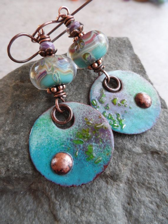 artisanmade enameled copper lampwork and copper wirewrapped rustic boho beachy earrings