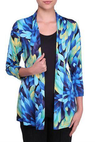 Walmart, Alia Women's 3/4 Sleeve Cardigan Fooler, Blue or Aqua, $19.97