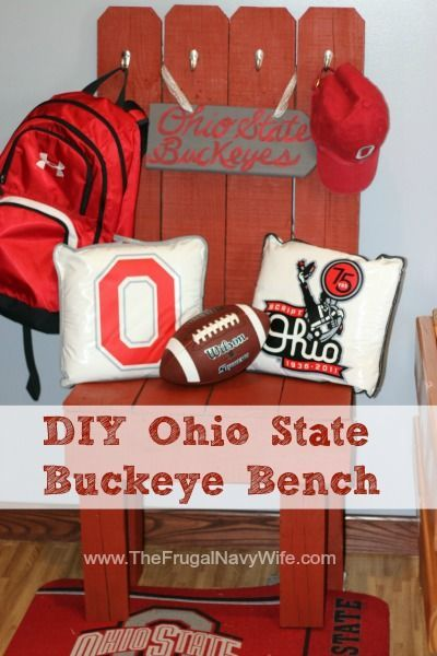 DIY Ohio State Buckeye Sports Team Bench. Dont you love Football season?! No matter if it NFL or NCAA we all love to show our team pride! This bench is easy to make can be painted to match any team colors!