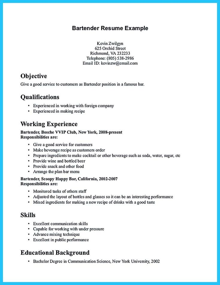 12 Best 7/16/2017 Bartender Resume Images On Pinterest