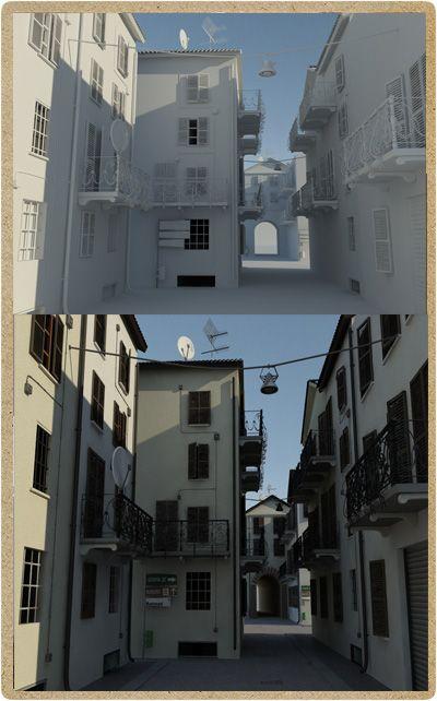 3D Preview della ristrutturazione di un vicolo storico della città di pavia. Nella preview bisognava riprodurre l'effetto finale della ristrutturazione di un vicolo storico della città di Pavia. Realizzato da P.Y.G. italy