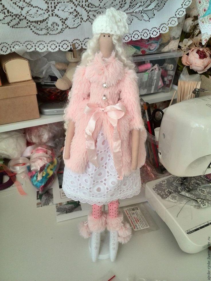 Купить Кукла тильда в шубке - бледно-розовый, кукла тильда купить, хлопок, мех