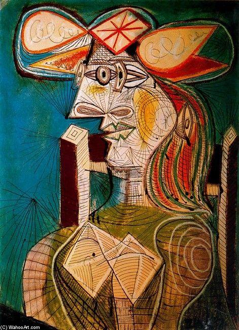 Pablo Picasso: Artsuyama Pablo, Seats Woman, Wooden Chairs, 1941 Pablo, Picasso Cubist, Art Pablo Picasso, Art Fav, Cubist Portraits, Pablopicasso