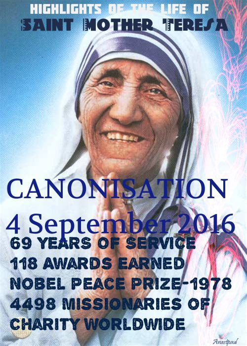 Saint of the Day – 5 September – St Mother Teresa of Calcutta MC (born Agnes Gonxha Bojaxhiu) – Consecrated Religious Nun, Founder of the Order of the Missionaries of Charity, Apostle of Charity, Missionary, Nobel Peace Prize Winner .......