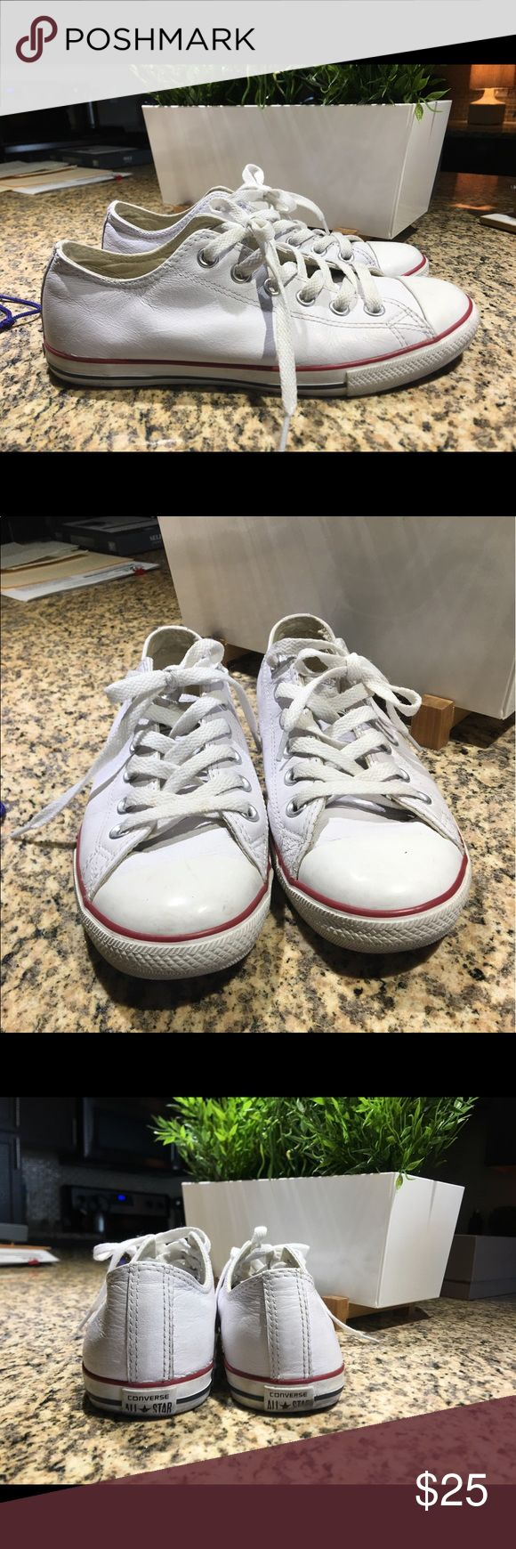 Converse Chuck Taylor Dainty Low Top - LEATHER White Leather Converse Shoes Sneakers