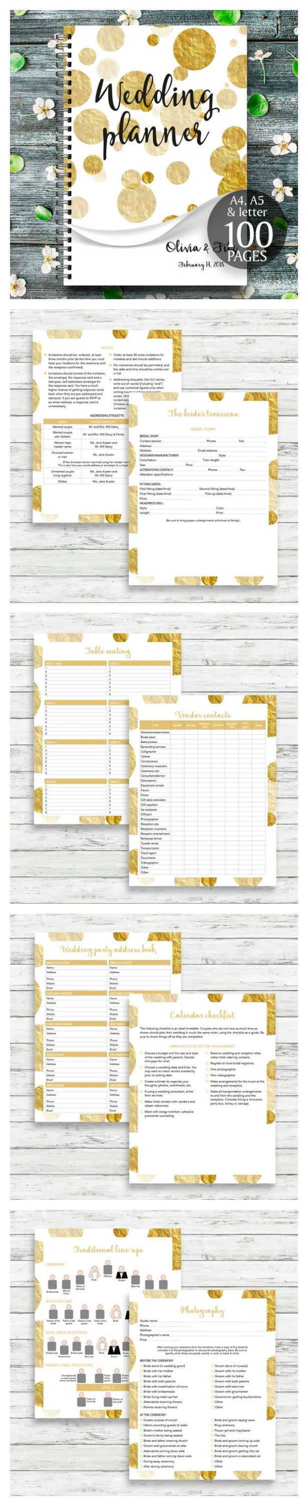 wedding planning checklist spreadsheet free%0A Gorgeous and sparkly complete Wedding Planner  This is a wedding planner  with     unique pages  including personalised cover page   each page can be  printed
