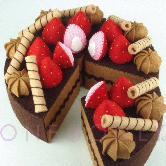 chocolate cake made of felt