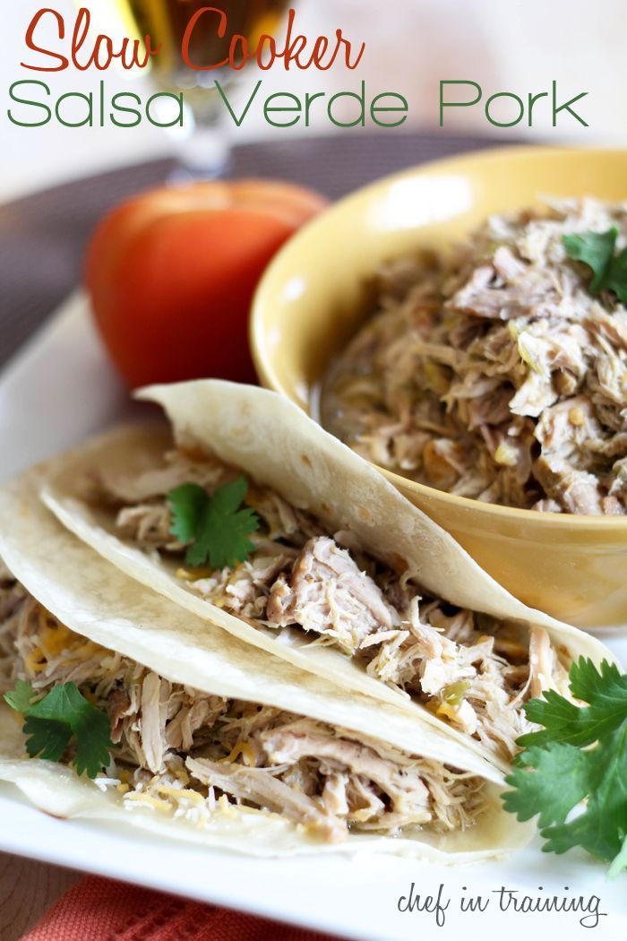 Slow Cooker Salsa Verde Pork!  This recipe is so easy! The pork is so juicy and flavorful, it literally just falls apart!Crockpot Cooking, Crockpot Pork Loin Recipe, Crock Pots, Food, Salsa Verde, Slowcooker, Crockpot Pork Verde, Slow Cooker Salsa, Verde Pork