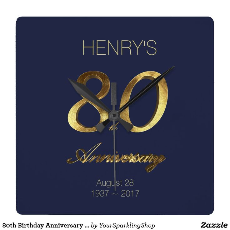 80th Birthday #Anniversary Gold and Blue Elegant Wall Clock