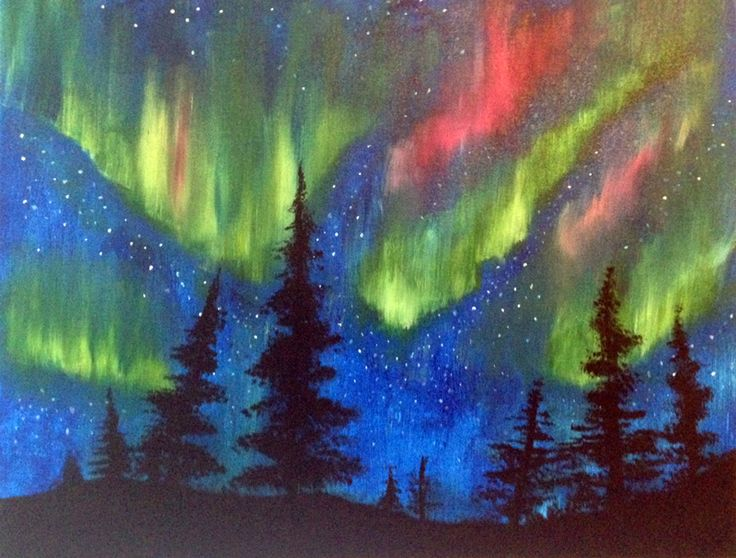 northern lights painting | Northern Lights painting by Creatively Uncorked | http ...