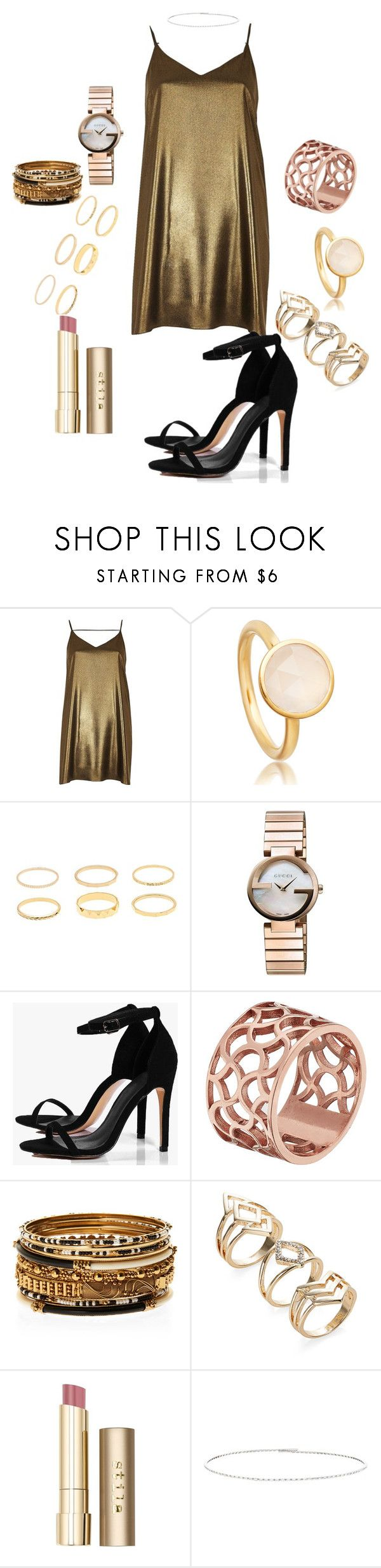 """""""n"""" by laluneee ❤ liked on Polyvore featuring River Island, Gucci, Boohoo, Tartesia, Amrita Singh, Stila and Suzanne Kalan"""