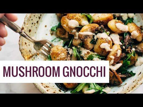 Mushroom Gnocchi with Arugula and Walnut Pesto - Pinch of Yum