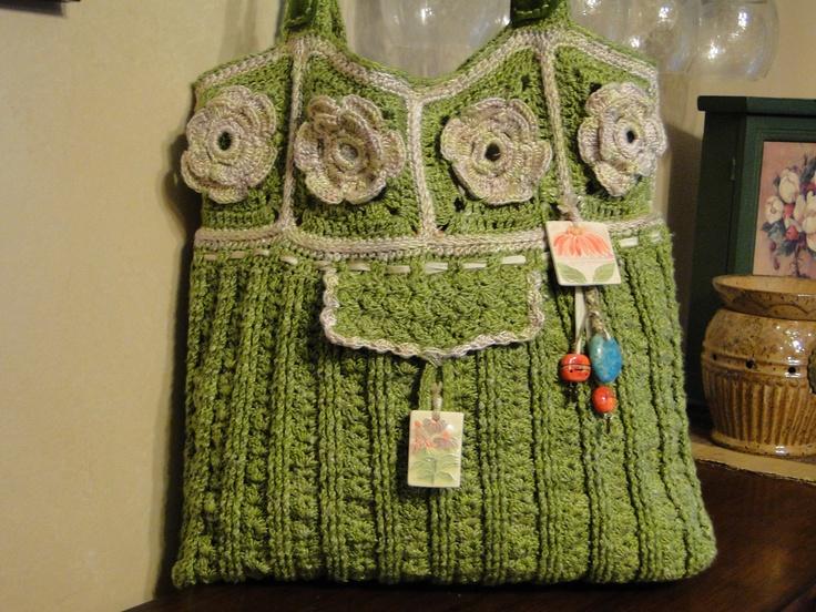 Crocheted Bag Green & Cream by MayBeMia o