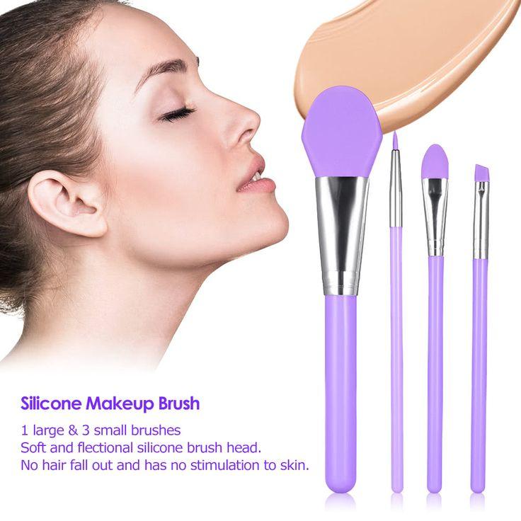 4Pcs Silicone Makeup Brush Kit Facial Mask Brush Foundation Sales Online green - Tomtop.com