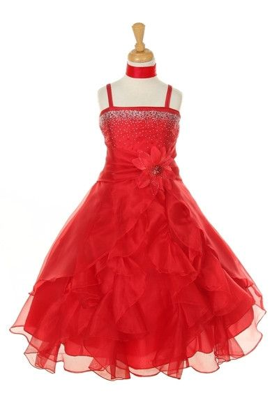 Girls Long Red Dresses with Scarf and Ruffled Skirt