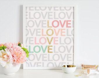 Pink Gold Art Print, Love Art Print, Love Wall Art Decor, Digital Art Printable Design Nursery Office Home Wall Art Decor Fashion Print