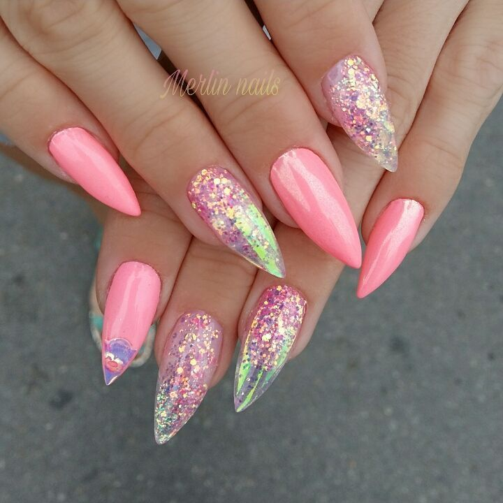 455 Likes 6 Comments Merlin Nails On Instagram Gel Gelnails Nail Nails Nailstagram N Holographic Glitter Nails Unicorn Nails Designs Mermaid Nails