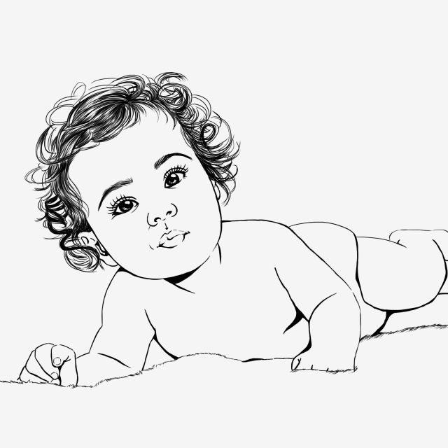 Baby Curly Hair Lineart Baby Icons Hair Icons Baby Png Transparent Clipart Image And Psd File For Free Download Baby Sketch Baby Girl Drawing Hair Illustration