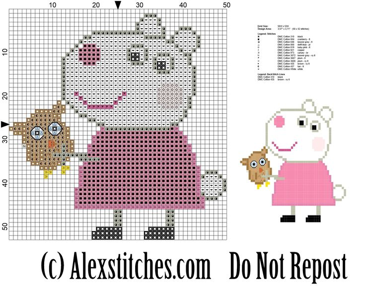 suzy sheep peppa pig's friend cross stitch pattern