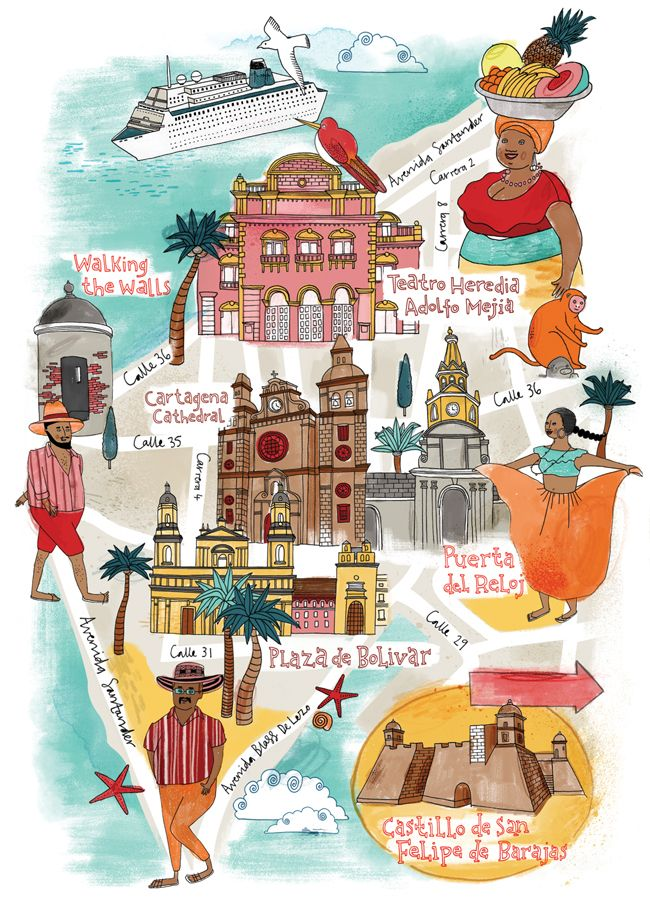 Map of Cartagena for National Geographic Traveller. Copyright Tilly aka Running For Crayons #map #mapillustration #illustration