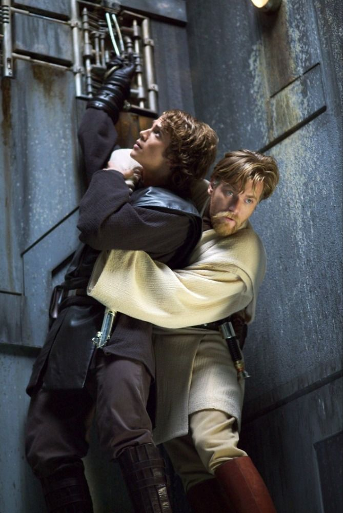 Ewan McGregor and Hayden Christensen in Star Wars III