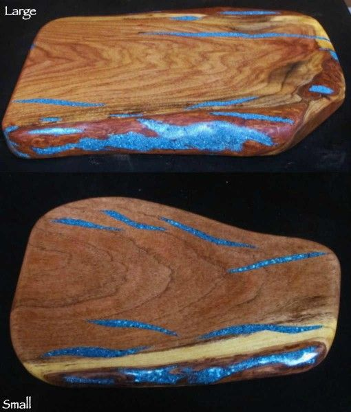 Gift Idea: Turquoise Inlay Cutting Board - For a truly unique look order one of our free form cutting boards with inlaid turquoise.  http://rusticartistry.com/product/turquoise-inlay-cutting-board-free-form/