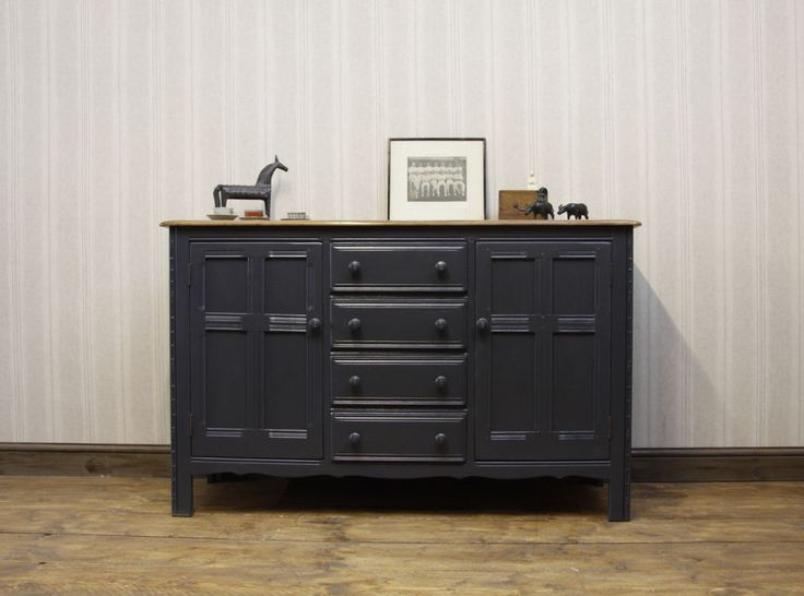 Quality Vintage Ercol Sideboard, Navy Colour Accent Piece, Stripped Wood Top #vintage #Sideboards