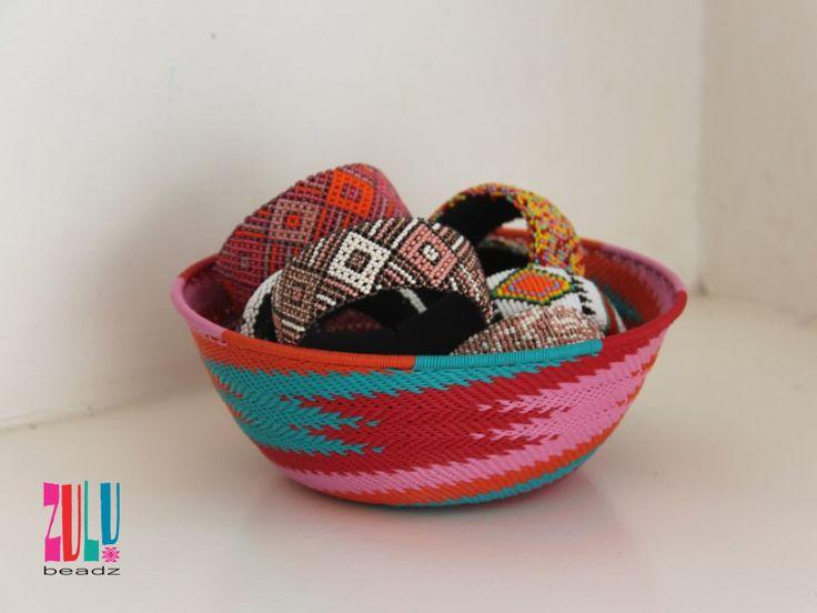 BAKABAKA - Zulu Woven Telephone Wire Bowl Large - red/pink/orange/green by ZuluBeadz on Etsy