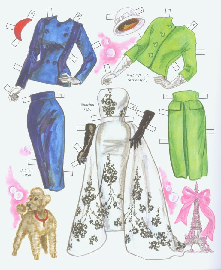 Hollywood Goes to Paris paper doll book costumes worn by Audrey Hepburn in Sabrina and Paris When It Sizzles.   Page 4 of 8 page book by David Wolfe. Available from paperdollreview.com.