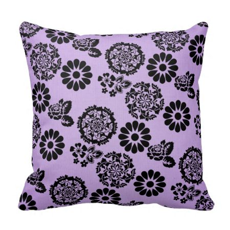 Lilac Floral Throw Pillow : Lilac/Purple and Black Lacy Flower Pillow Cushion Throw pillows, Flower pillow and Cushions