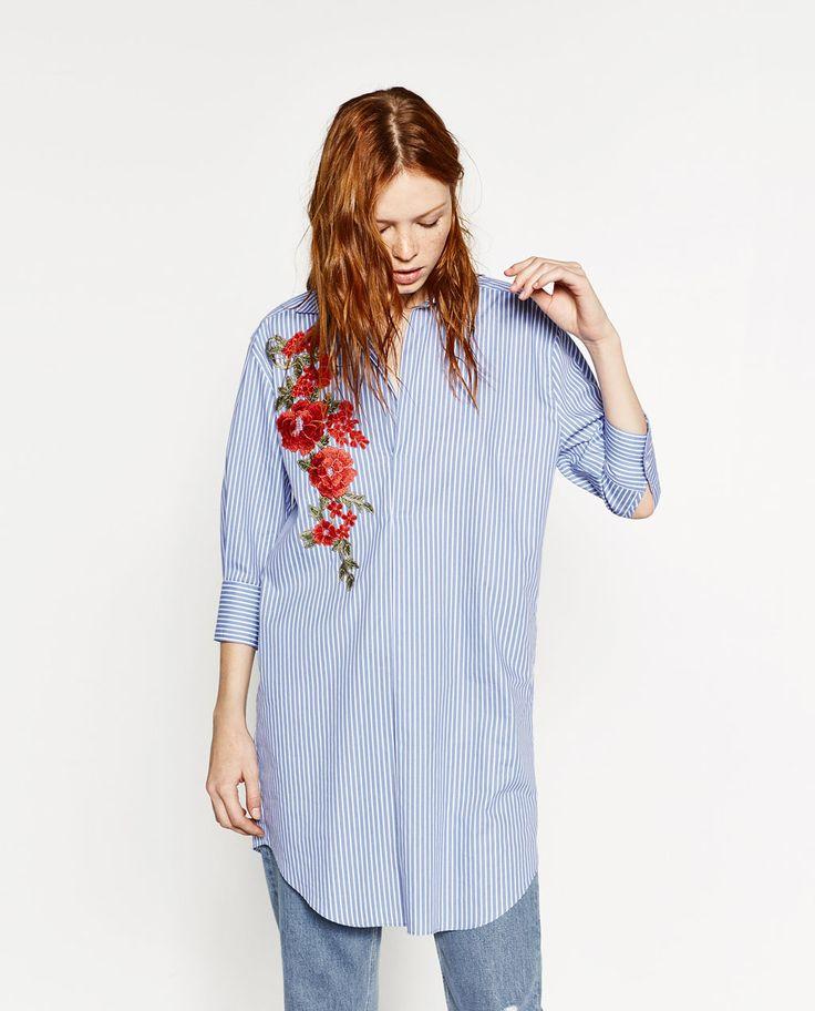 パッチ付きシャツドレス-ドレス ワンピース-レディ-ス | ZARA 日本
