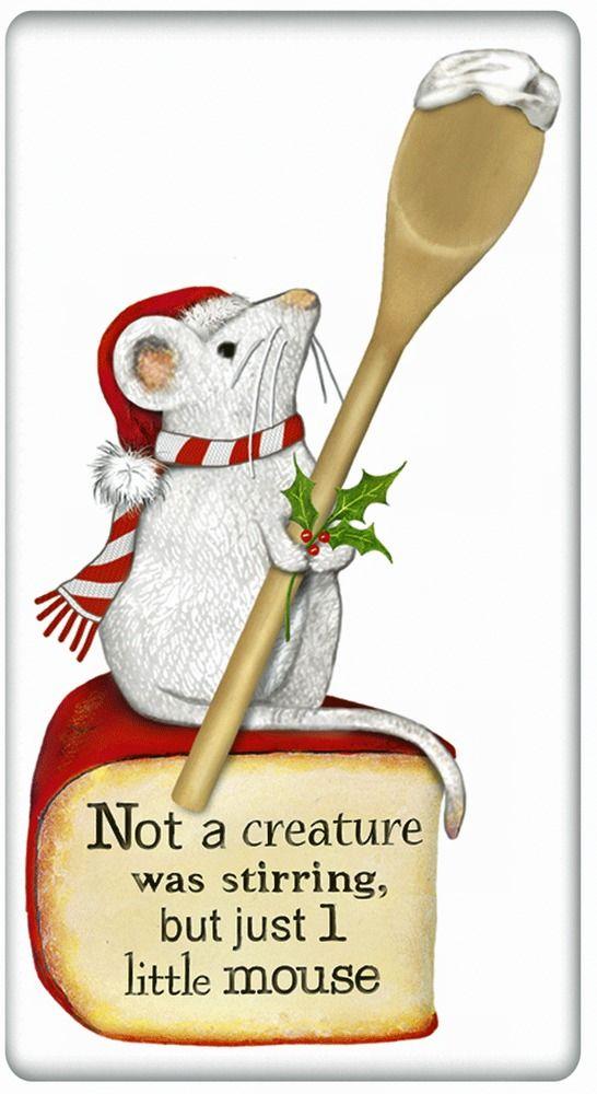 FLOUR SACK KITCHEN DISH TOWEL CHRISTMAS KITCHEN MOUSE MARY LAKE THOMPSON #MaryLakeThompson