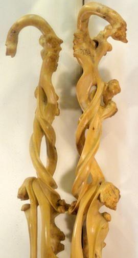 batons de marche sculptés,bois sculptés,bois sculpté,pommeau sculpté,pommeaux sculptés,bois taillé