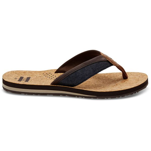 TOMS Navy Denim Cork Men's Santiago Flip-Flops ($39) ❤ liked on Polyvore featuring men's fashion, men's shoes, men's sandals, men's flip flops, navy, toms mens shoes, mens beach sandals, mens navy shoes, mens cork sandals and mens beach shoes