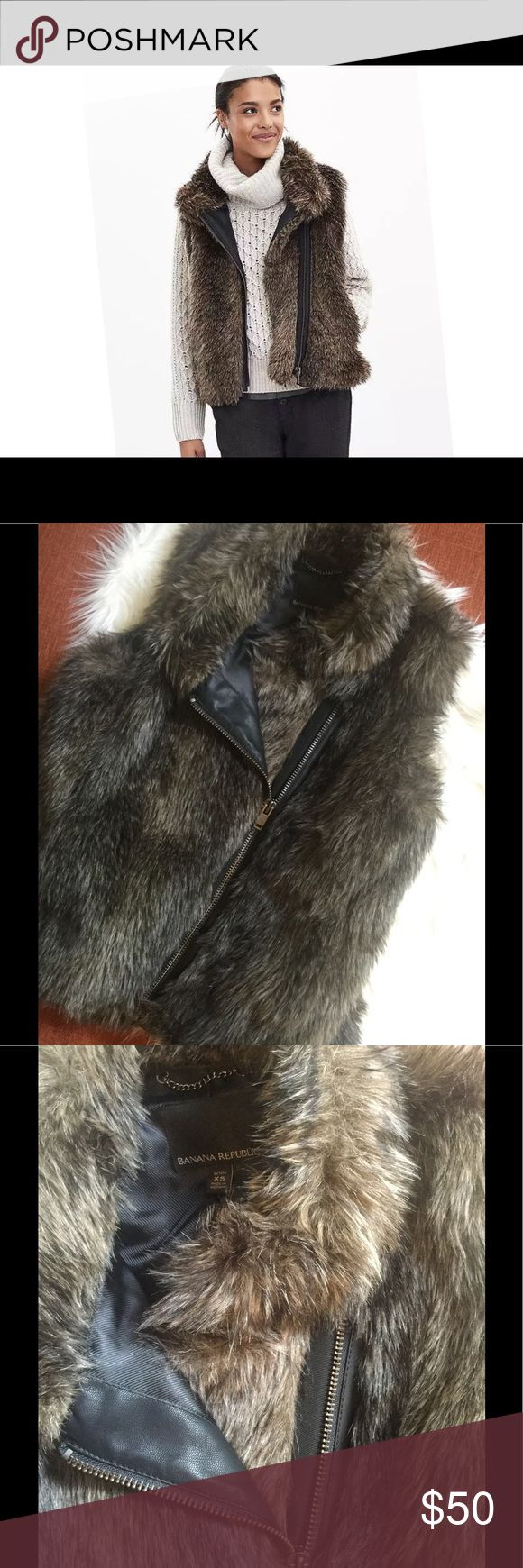 """Banana Republic Faux Fur Vest XS Luxe faux fur gives an opulent touch to our on-trend vest.  Excellent condition. Length 21"""" waist 16.5"""" lying flat.  Size: XS Color: Brown combo Cross-front standing collar. Sleeveless. Faux-leather trim full-zip closure. Front pockets. Fully lined. Hits at the hip. 85% Acrylic, 15% Polyester. Dry clean. Imported. Brand new with tag. Retail price: $138+tax. Banana Republic Jackets & Coats Vests"""
