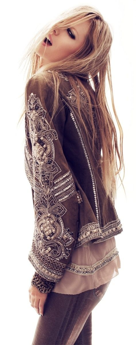 This embellished jacket is insane. I love the dreamy neutral palette. One day I will rework a million vintage leather jackets.