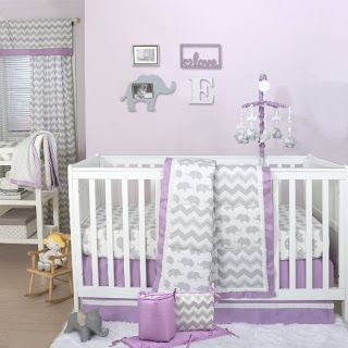 Too cute, I'm loving this baby elephant and  Chevron (zig zag) lavender and grey crib bedding for baby girls' nursery, don't you?