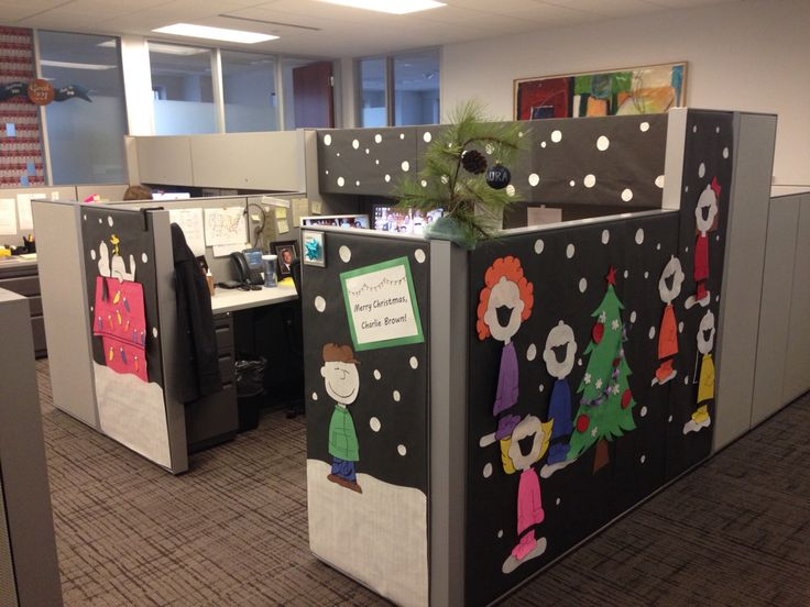 merry christmas charlie brown cubicle decorating office peanuts snoopy