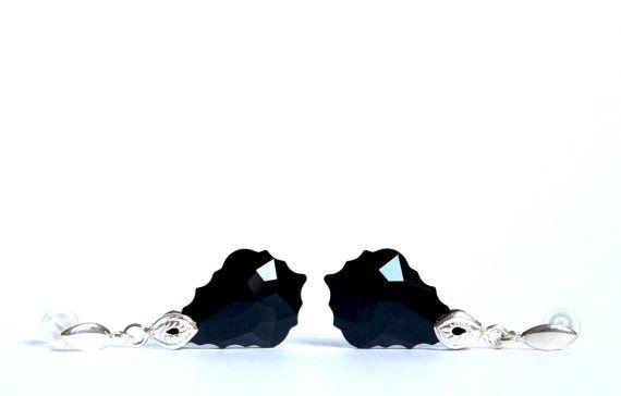 Sterling silver earrings with beautiful black by YUKIJewellery, €25.50