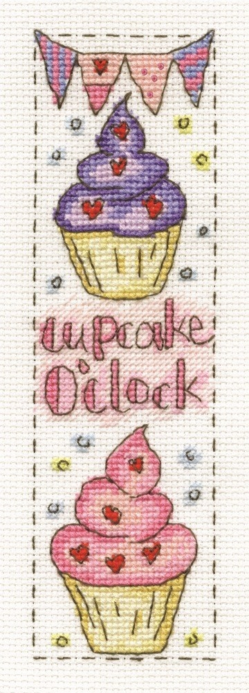 DMC cross stitch Cupcake O'clock Bookmark