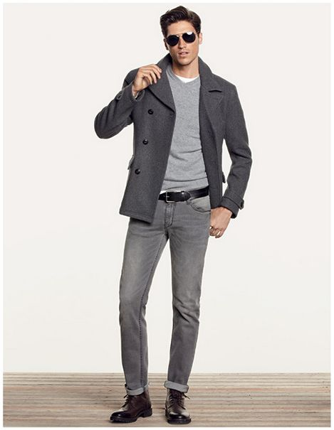 what to wear with grey jeans male