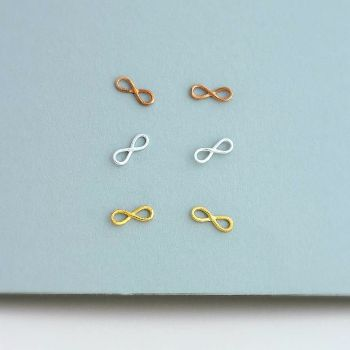 Posh Totty Designs 9ct Rose Gold Plated Infinity Stud Earrings: The perfect addition to our new range of designs, these beautiful 9 ct rose gold infinity earrings are handmade in our workshop.