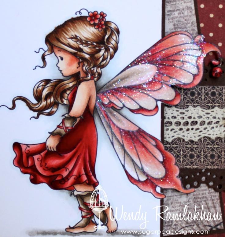 Silver Fairy:  Copics Used:  Skin: E15, E13, E11, E00, E50, R02  Hair: E50, E31, E35, E39, E47  Dress: R59, R29, R24, R14, R20  Cuffs: E44, E43, E42, E41  Wings: R29, R14, R02, R12, E43, E42, E41  Shadowing: W5, W3, W1, W00, BG70