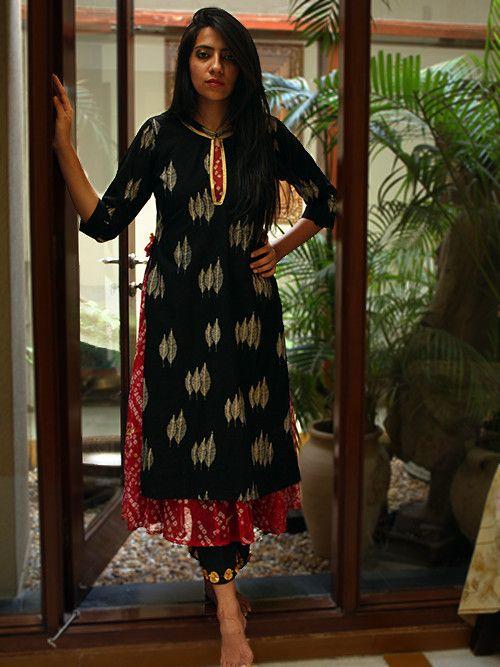 Black Printed Cotton Kurta with Bandhani Lining – The Loom