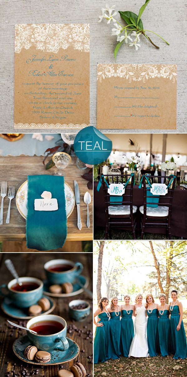chic rustic teal fall wedding color ideas and lace wedding invitations